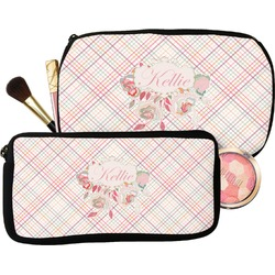 Modern Plaid & Floral Makeup / Cosmetic Bag (Personalized)