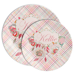Modern Plaid & Floral Melamine Plate (Personalized)