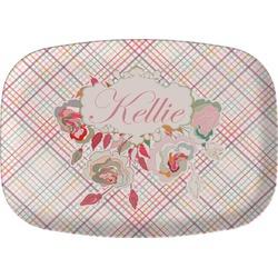 Modern Plaid & Floral Melamine Platter (Personalized)