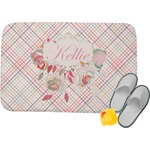 Modern Plaid & Floral Memory Foam Bath Mat (Personalized)