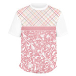 Modern Plaid & Floral Men's Crew T-Shirt (Personalized)