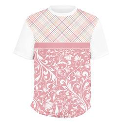 Modern Plaid & Floral Men's Crew T-Shirt (Personalized)