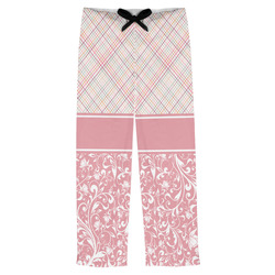 Modern Plaid & Floral Mens Pajama Pants (Personalized)