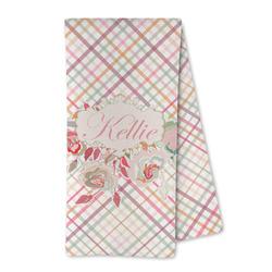 Modern Plaid & Floral Microfiber Kitchen Towel (Personalized)