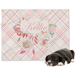 Modern Plaid & Floral Minky Dog Blanket (Personalized)