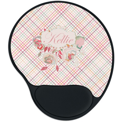 Modern Plaid & Floral Mouse Pad with Wrist Support