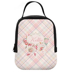 Modern Plaid & Floral Neoprene Lunch Tote (Personalized)