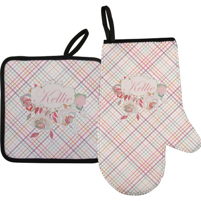 Modern Plaid & Floral Oven Mitt & Pot Holder (Personalized)