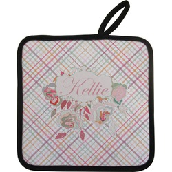 Modern Plaid & Floral Pot Holder w/ Name or Text