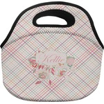 Modern Plaid & Floral Lunch Bag (Personalized)