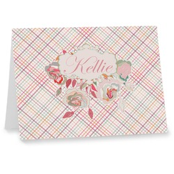 Modern Plaid & Floral Note cards (Personalized)