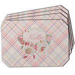Modern Plaid & Floral Dining Table Mat - Octagon w/ Name or Text