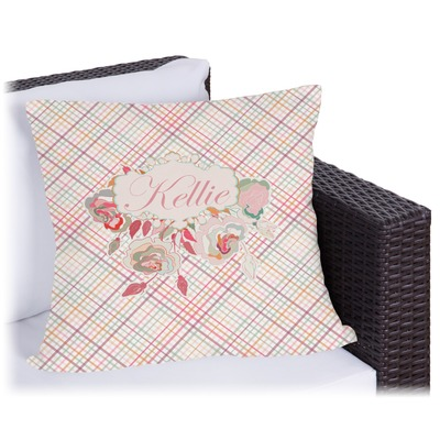 Modern Plaid & Floral Outdoor Pillow - 18