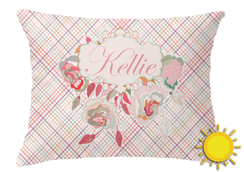 Modern Plaid Pillows : Modern Plaid & Floral Outdoor Throw Pillow (Rectangular) (Personalized) - YouCustomizeIt