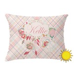 Modern Plaid & Floral Outdoor Throw Pillow (Rectangular) (Personalized)
