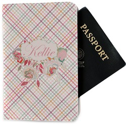 Modern Plaid & Floral Passport Holder - Fabric (Personalized)