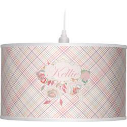 Modern Plaid & Floral Drum Pendant Lamp (Personalized)
