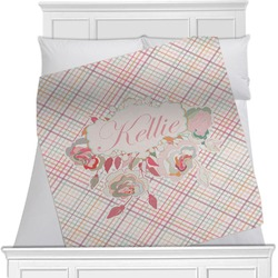 Modern Plaid & Floral Minky Blanket (Personalized)