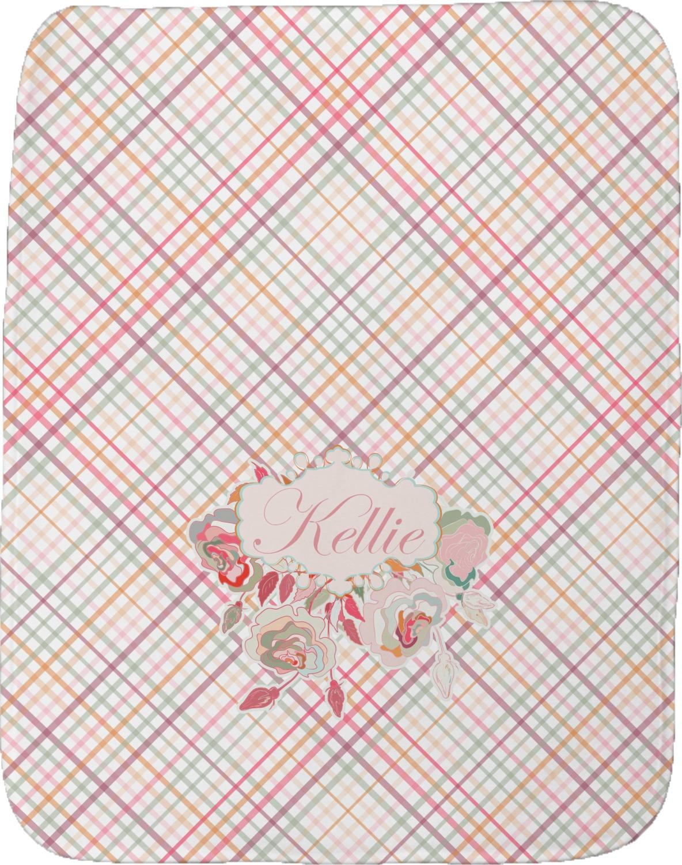 Modern Plaid Amp Floral Burp Cloth Personalized