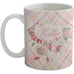Modern Plaid & Floral Coffee Mug (Personalized)