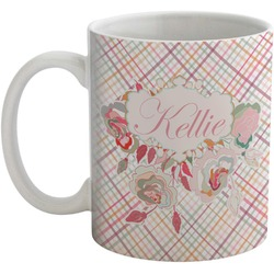 Modern Plaid & Floral Coffee Mug (Personalized)