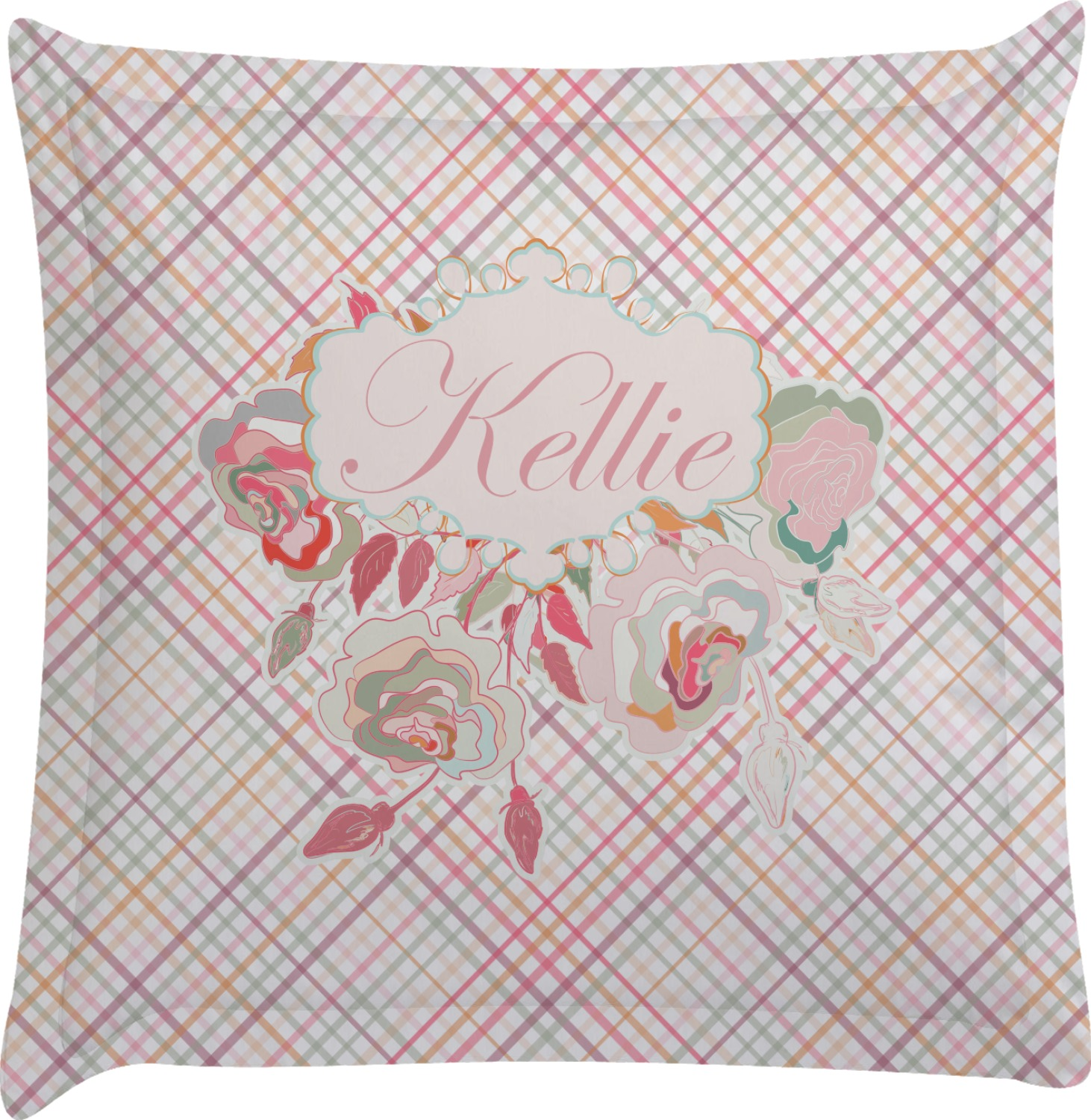 Modern Plaid & Floral Euro Sham Pillow Case (Personalized) - YouCustomizeIt