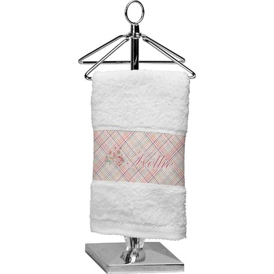 Modern Plaid & Floral Finger Tip Towel (Personalized)