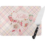 Modern Plaid & Floral Rectangular Glass Cutting Board (Personalized)