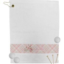 Modern Plaid & Floral Golf Towel (Personalized)