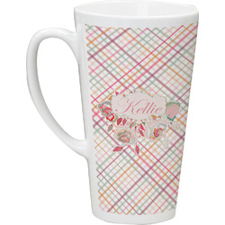 Modern Plaid & Floral Latte Mug (Personalized)