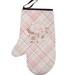 Modern Plaid & Floral Left Oven Mitt (Personalized)