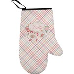 Modern Plaid & Floral Right Oven Mitt (Personalized)