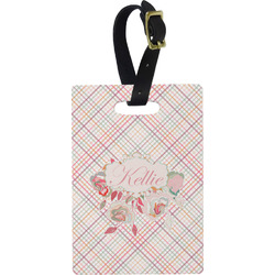 Modern Plaid & Floral Rectangular Luggage Tag (Personalized)