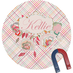 Modern Plaid & Floral Round Magnet (Personalized)