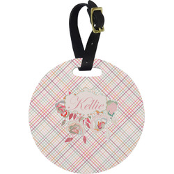 Modern Plaid & Floral Round Luggage Tag (Personalized)