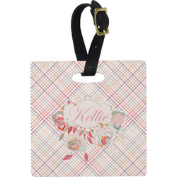 Modern Plaid & Floral Square Luggage Tag (Personalized)