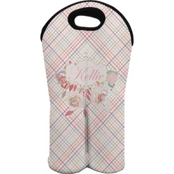Modern Plaid & Floral Wine Tote Bag (2 Bottles) (Personalized)