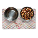 Modern Plaid & Floral Dog Food Mat (Personalized)