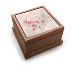 Modern Plaid & Floral Pet Urn w/ Name or Text