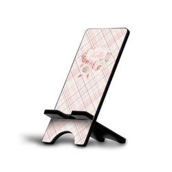 Modern Plaid & Floral Phone Stand (Personalized)