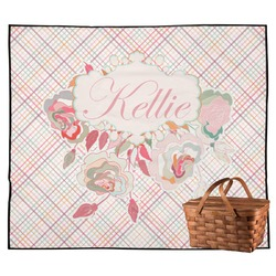 Modern Plaid & Floral Outdoor Picnic Blanket (Personalized)