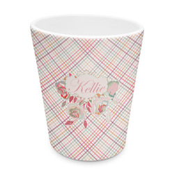 Modern Plaid & Floral Plastic Tumbler 6oz (Personalized)