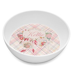 Modern Plaid & Floral Melamine Bowl 8oz (Personalized)