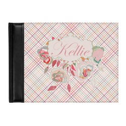 Modern Plaid & Floral Genuine Leather Guest Book (Personalized)