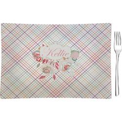 Modern Plaid & Floral Rectangular Glass Appetizer / Dessert Plate - Single or Set (Personalized)