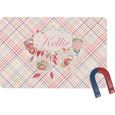 Modern Plaid & Floral Rectangular Fridge Magnet (Personalized)