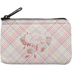 Modern Plaid & Floral Rectangular Coin Purse (Personalized)