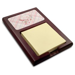 Modern Plaid & Floral Red Mahogany Sticky Note Holder (Personalized)