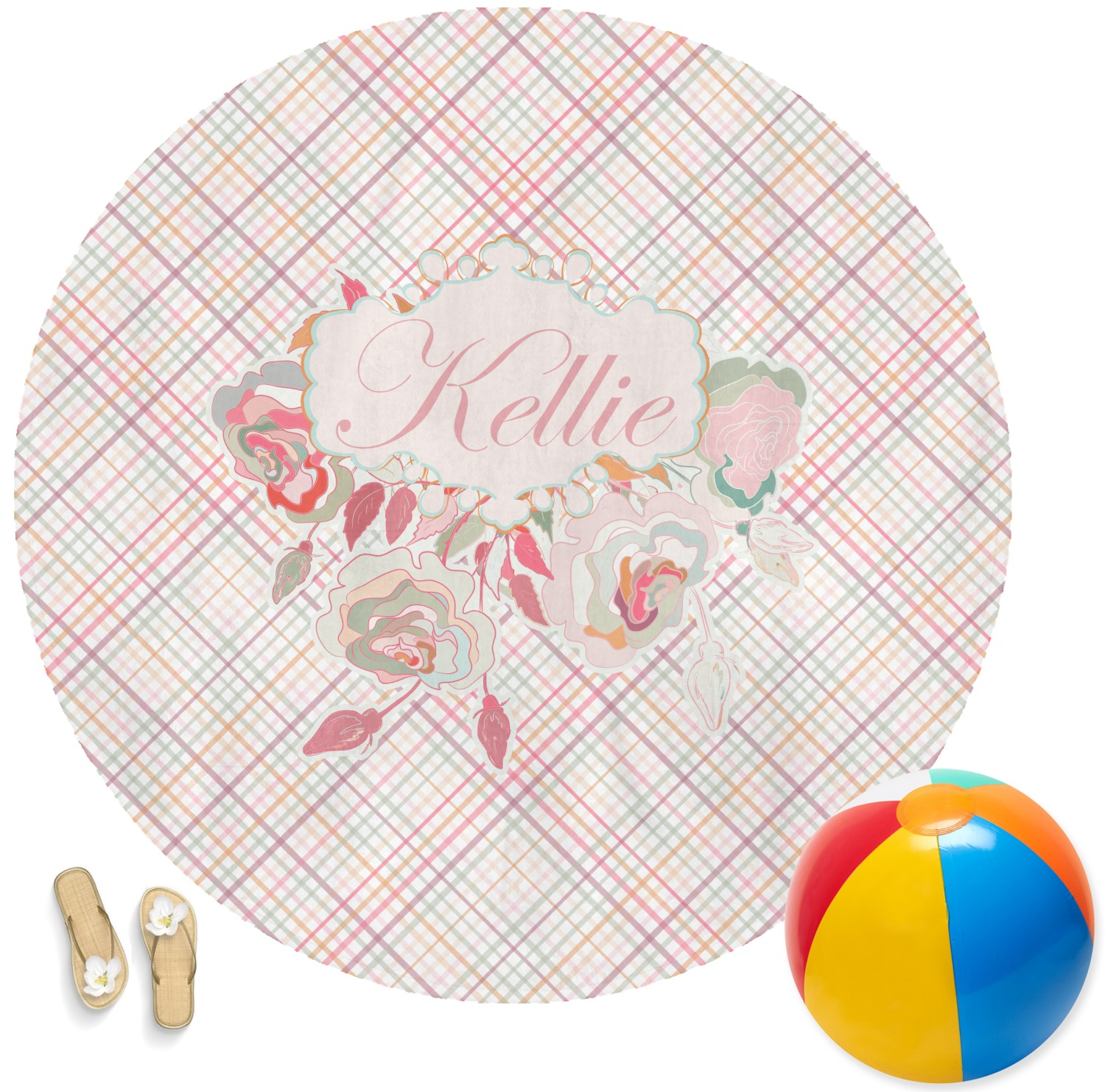 Modern Plaid Amp Floral Round Beach Towel Personalized