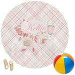 Modern Plaid & Floral Round Beach Towel (Personalized)